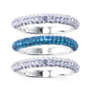Crystal 3-pc. Silver-Plated Ring Set