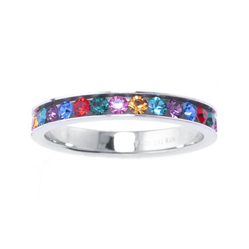 Multicolor Crystal Sterling Silver Band Ring