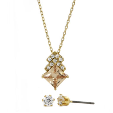 jcpenney.com | Sparkle Allure™ Champagne and White Cubic Zirconia Stud Earring and Necklace Set
