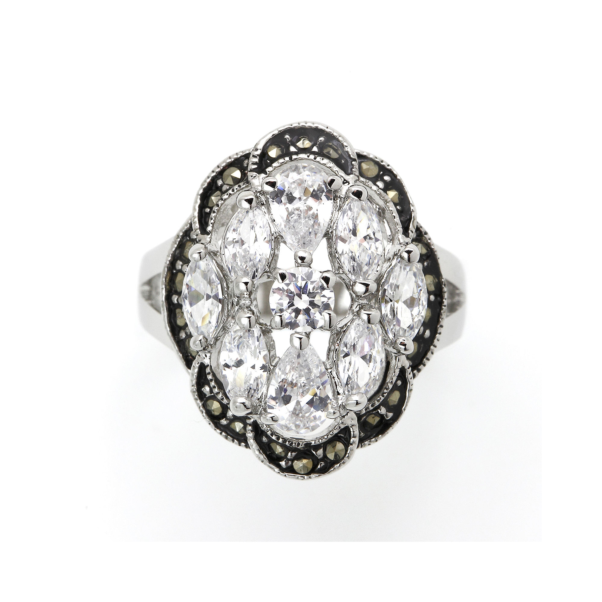 city x city Crystal and Marcasite Cocktail Ring