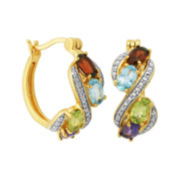 Classic Treasures™ Multicolor Gemstone Hoop Earrings