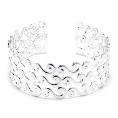 jcpenney.com | Dazzling Designs™ Silver-Plated Brass Wave Cuff Bracelet