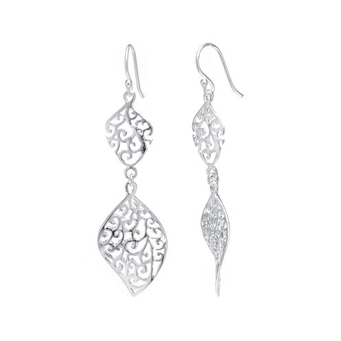 Silver Reflections™ Silver-Plated Brass Filigree Marquise Drop Earrings