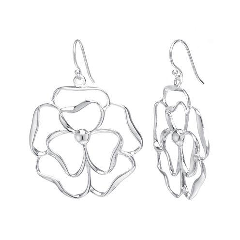 Silver Reflections™ Silver-Plated Brass Flower Open Drop Earrings