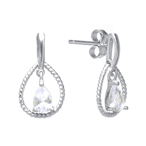 Cubic Zirconia Sterling Silver Teardrop Rope Earrings