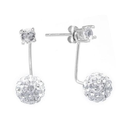 Pavé Crystal Ball Sterling Silver Jacket Drop Earrings
