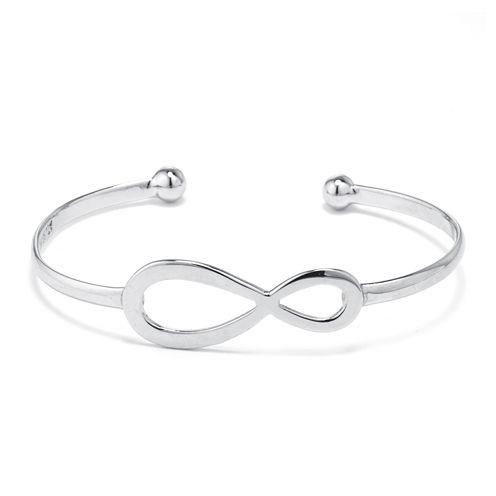 Dazzling Designs™ Silver-Plated Brass Infinity Cuff Bracelet