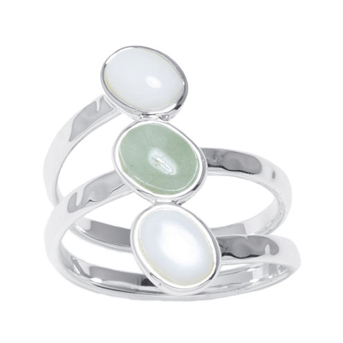 Mother-of-Pearl and Green Aventurine Silver-Plated Brass Ring