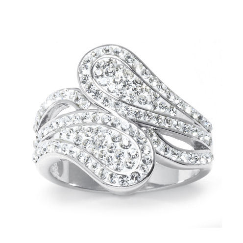 Crystal Pavé Paisley Bypass Silver-Plated Brass Ring