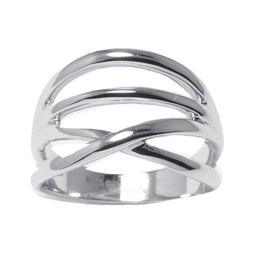 Sterling Silver Crossover Band Ring