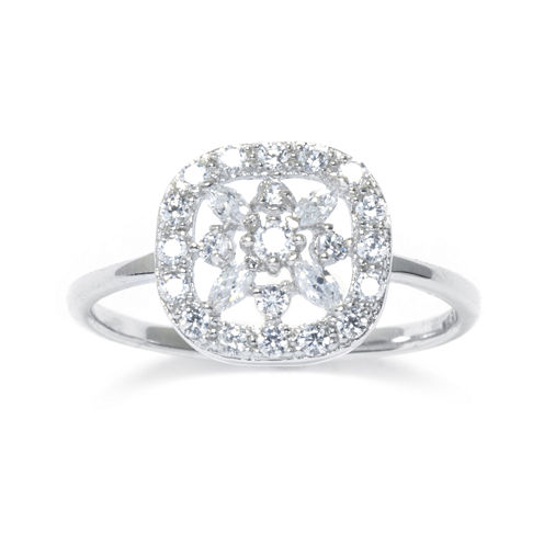 Cubic Zirconia Sterling Silver Square Flower Ring