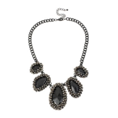 jcpenney.com | Mixit™ Five Teardrop Stone Black-Tone Metal Necklace