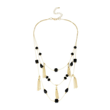 jcpenney.com | Mixit™ Black Bead Gold-Tone Illusion Tassel Necklace