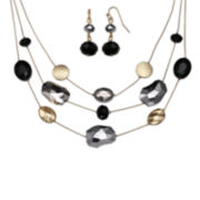 Mixit™ Multicolor Bead Silver-Tone Double-Drop Earring and Illusion Necklace Set