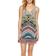 Bailey Blue Sleeveless Chiffon A-Line Necklace Dress- Juniors