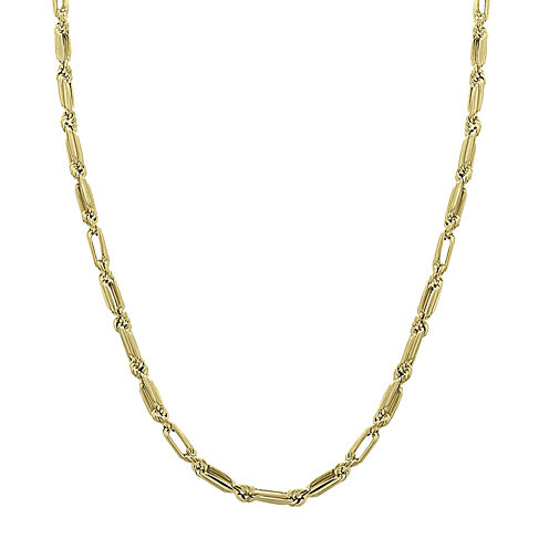 """14K Yellow Gold 18"""" Baguette Supreme Hollow Chain Necklace"""