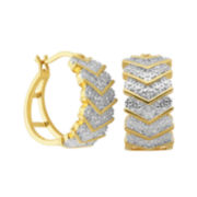 Diamond-Accent 18K Gold Over Silver Chevron Hoop Earrings