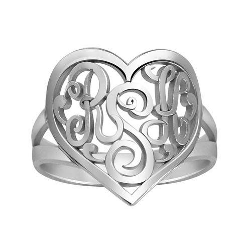Personalized 18mm Script Monogram Heart Ring