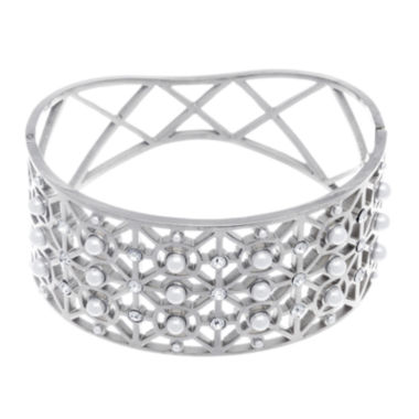 jcpenney.com | Stainless Steel Bangle with Simulated Pearls and Cubic Zirconia