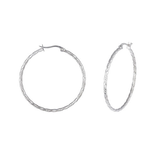 Stainless Steel 42mm Diamond-Cut Hoop Earrings