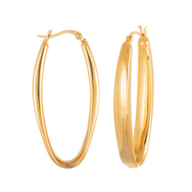 jcpenney.com | 18K Gold Ion-Plated Stainless Steel 49mm Oblong Oval Hoop Earrings