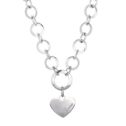 Stainless Steel Heart Charm Necklace