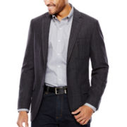 Savile Row® Black/Grey Herringbone Sport Coat - Slim Fit