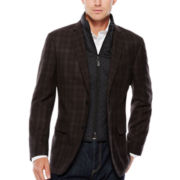 Savile Row® Black Charcoal Plaid Sport Coat - Slim Fit