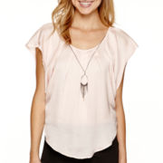 by&by Short-Sleeve Woven Circle Necklace Top