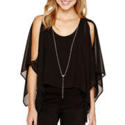 by&by Long-Sleeve Cold-Shoulder Popover Necklace Top