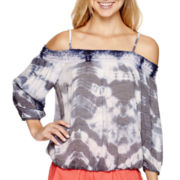 by&by Long-Sleeve Tie-Dye Off-the-Shoulder Top