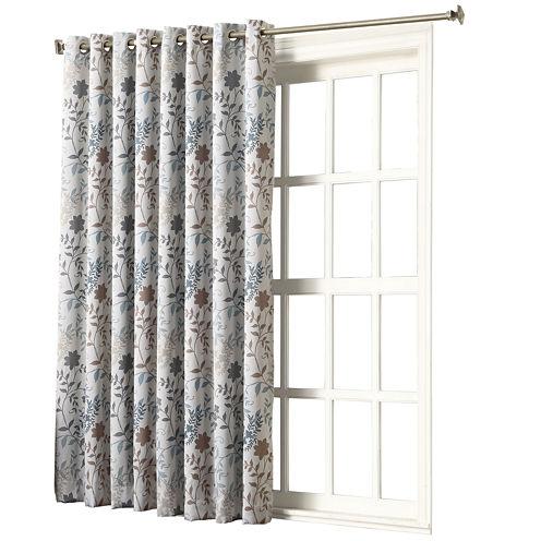 "Sun Zero™ Emory Printed Floral Room-Darkening Grommet-Top "" 100 x 84"" Patio Panel"