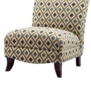 Fern Print Armless Curved-Back Chair