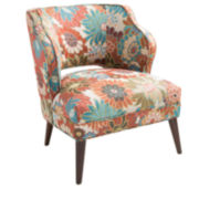 Lynn Armless Floral-Print Mod Chair