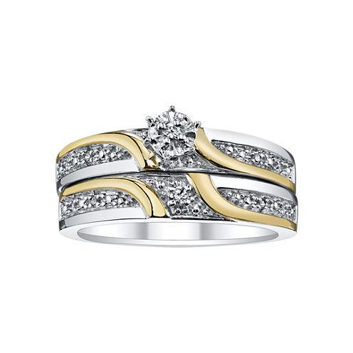 Two-Tone Diamond Accent Bridal Set