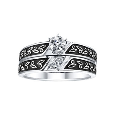 jcpenney.com | 1/8 CT. T.W. Diamond Leaf-Detail Bridal Ring Set