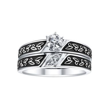 18 CT TW Diamond Leaf Detail Bridal Ring Set