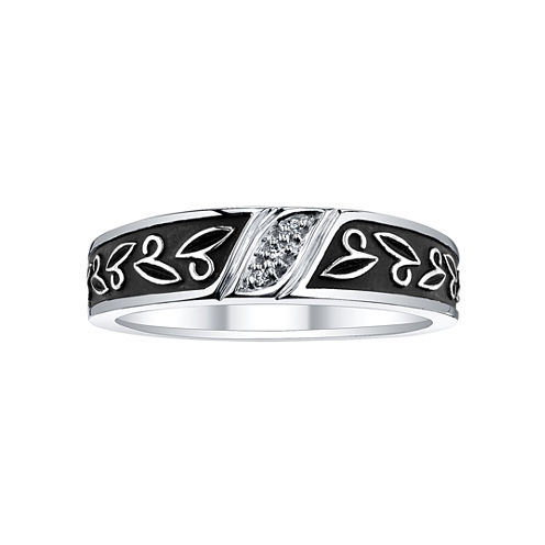 Mens Diamond-Accent Leaf-Detail Wedding Band