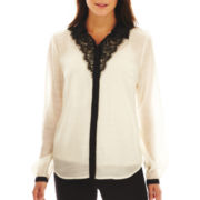 nicole by Nicole Miller® Button-Front Top with Lace