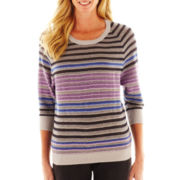 Liz Claiborne 3/4-Sleeve Tuck-Stitched Striped Sweater