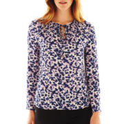 Liz Claiborne Long-Sleeve Tie-Neck Blouse