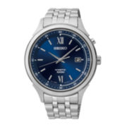 Seiko® Mens Blue Dial Stainless Steel Kinetic Watch