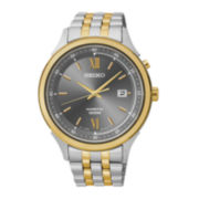 Seiko® Mens Gray Dial Two-Tone Stainless Steel Kinetic Watch