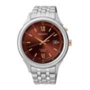 Seiko® Mens Brown Dial Stainless Steel Kinetic Watch