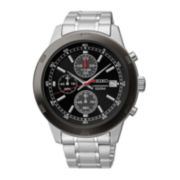 Seiko® Mens Black Dial Stainless Steel Kinetic Chronograph Sport Watch