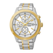 Seiko® Mens White Dial Two-Tone Stainless Steel Kinetic Chronograph Sport Watch