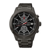Seiko® Mens Black Dial Black Stainless Steel Kinetic Chronograph Sport Watch