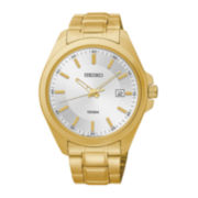 Seiko® Mens Silver-Tone Dial Gold-Tone Stainless Steel Sport Watch SUR064