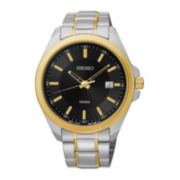 Seiko® Mens Black Dial Two-Tone Stainless Steel Sport Watch SUR072