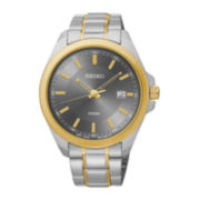 Seiko® Mens Gray Dial Two-Tone Stainless Steel Sport Watch
